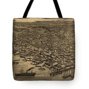 Vintage Pictorial Map Of Seattle - 1884 Tote Bag