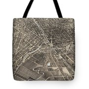 Vintage Pictorial Map Of Syracuse New York - 1874 Tote Bag