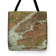 Vintage Pictorial Map Of The Nyc Area - 1912 Tote Bag