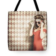 Vintage Pinup Fashion Model In Womens Sunglasses Tote Bag