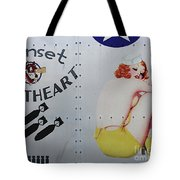 Vintage Pinup Nose Art Sunset Sweetheart Tote Bag by Cinema Photography