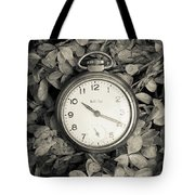 Vintage Pocket Watch Over Flowers Tote Bag