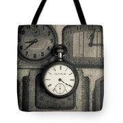 Vintage Pocket Watch Over Old Clocks Tote Bag