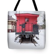 Vintage Red Caboose In The Snow Tote Bag