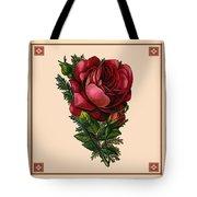 Vintage Red Rose Botanical Tote Bag