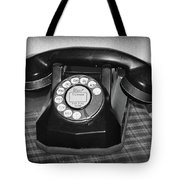 Vintage Rotary Phone Black And White Tote Bag
