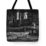 Vintage Sawmill In Black And White Tote Bag