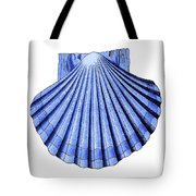 Vintage Scallop Shell Blue Tote Bag