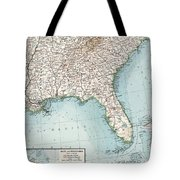 Vintage Southeastern Us And Caribbean Map - 1900 Tote Bag