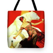 Vintage Spanish Liquor Ad, Flamenco Dancer, Polar Bear Tote Bag