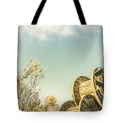 Vintage Spools And Farmyard Skies Tote Bag