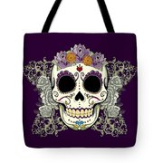 Vintage Sugar Skull And Flowers Tote Bag