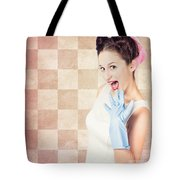 Vintage Surprised Pinup Woman Doing Housework Tote Bag