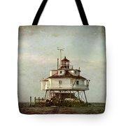 Vintage Thomas Point Shoal Lighthouse Tote Bag