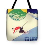 Vintage Travel Skiing Tote Bag