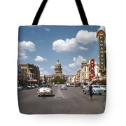 Vintage View Downtown Austin Looking Up Congress Avenue In Front Tote Bag