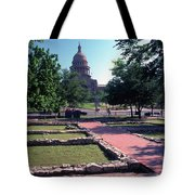 Vintage View Of The Foundation Of The First Texas Capitol That Burned Down In 1836 Tote Bag