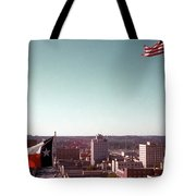 Vintage View Of The Texas And Usa Flags Flying On Top Of Texas State Capitol Tote Bag