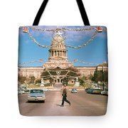 Vintage View Of The Texas State Capitol And Christmas Decorations Strung Along Congress Avenue From December 1960 Tote Bag