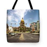 Vintage View Of The Texas State Capitol And Downtown Austin From September 1968 Tote Bag