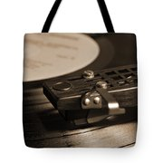 Vinyl Record Playing On A Turntable In Sepia Tote Bag