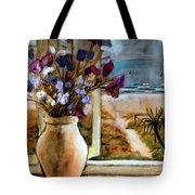 Violet Beach Flowers Tote Bag