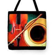 Violin And French Horn Tote Bag