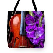 Violin And Purple Glads Tote Bag by Garry Gay