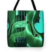 Violin In Green Tote Bag