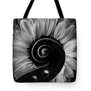 Violin Scroll And Sunflower In Black And White Tote Bag