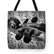 Violin Scroll On Sheet Music Tote Bag