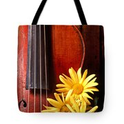 Violin With Daises  Tote Bag