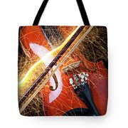 Violin With Sparks Flying From The Bow Tote Bag by Garry Gay
