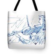 Violinist In Blue Tote Bag