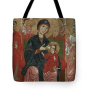 Virgin And Child Enthroned With Saints Leonard And Peter And Scenes From The Life Of Saint Peter Tote Bag