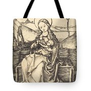 Virgin And Child On A Grassy Bench Tote Bag
