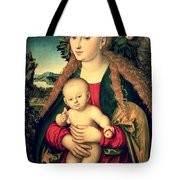 Virgin And Child Under An Apple Tree Tote Bag