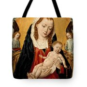 Virgin And Child With Two Angels Tote Bag