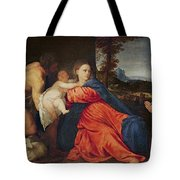 Virgin And Infant With Saint John The Baptist And Donor Tote Bag
