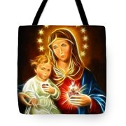 Virgin Mary And Baby Jesus Sacred Heart Tote Bag