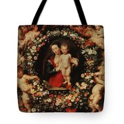 Virgin With A Garland Of Flowers Tote Bag