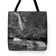 Virgina Falls In The Pool - Black And White Tote Bag