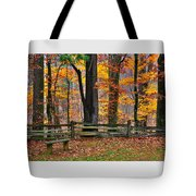 Virginia Country Roads - A Seat With A View - Autumn Colorfest No. 1 Near Mabry Mill - Floyd County Tote Bag