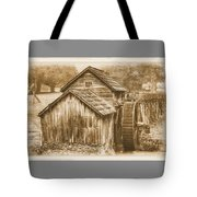 Virginia Country Roads - Mabry Mill No. 23 Sepia - Blue Ridge Parkway, Floyd County Tote Bag