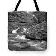 Virginia Falls Glacier Cascades - Black And White Tote Bag