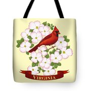 Virginia State Bird Cardinal And Flowering Dogwood Tote Bag by Crista Forest