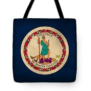 Virginia State Flag Art On Worn Canvas Edition 2 Tote Bag