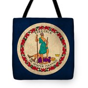 Virginia State Flag Art On Worn Canvas Edition 3 Tote Bag