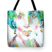 Virginia Woolf Watercolor Portrait Tote Bag