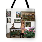 Virtual Exhibition - Girl With Boots Tote Bag